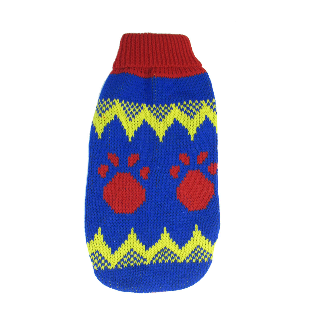 Blue Red Yellow Pawprint Print Pet Chihuahua Sleeves Sweater Apparel Size S