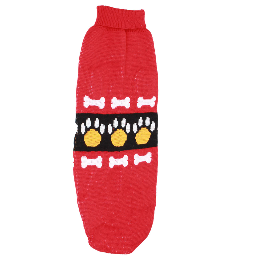 Pet Dog Doggie Bone Claw Print Ribbed Cuff Knitwear Turtleneck Apparel Sweater Colorful Size L