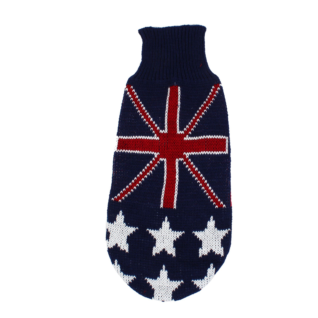 Pet Dog Puppy Flag Print Ribbed Cuff Knitwear Turtleneck Apparel Sweater Dark Blue Red White Size L
