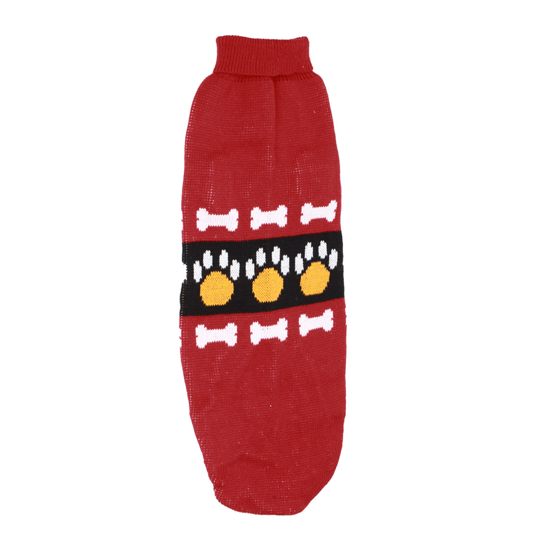 Pet Dog Doggie Bone Claw Print Ribbed Cuff Knitwear Turtleneck Apparel Sweater Colorful Size XL