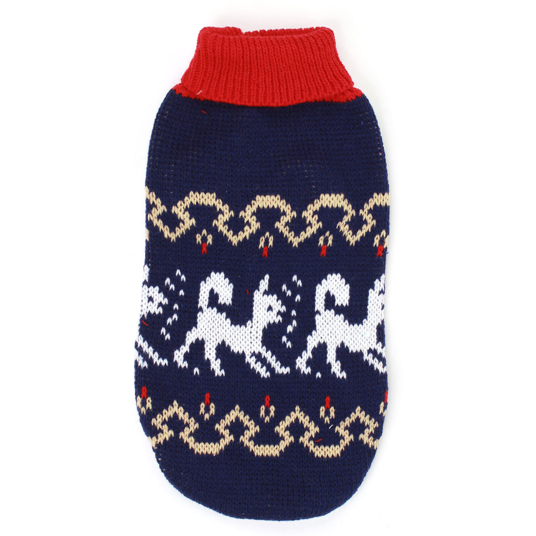 Pet Dog Puppy Ribbed Cuff Knitwear Turtleneck Apparel Sweater Colorful Size S