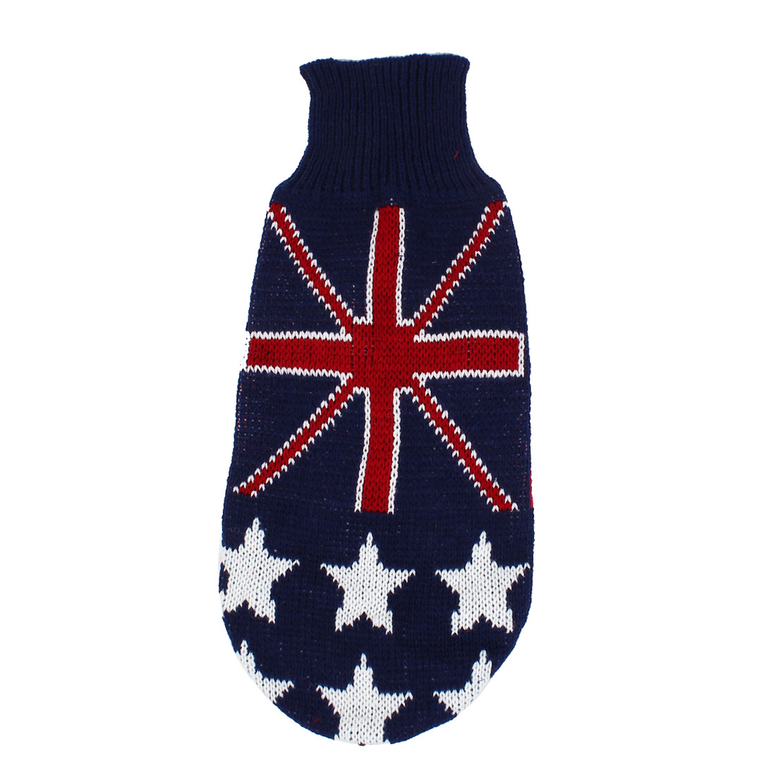 Pet Dog Puppy Flag Print Ribbed Cuff Knitwear Turtleneck Apparel Sweater Dark Blue Red White Size M