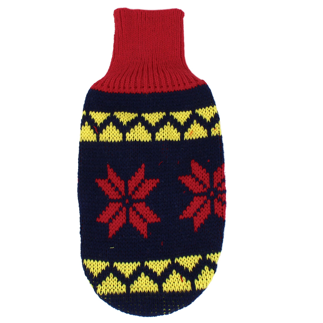 Pet Dog Puppy Ribbed Cuff Knitwear Turtleneck Apparel Sweater Dark Blue Red Yellow Size XS