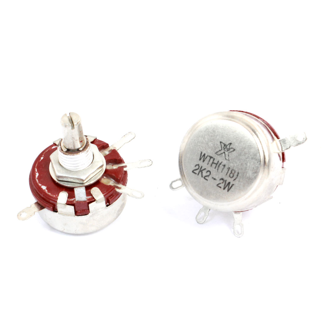 2 Pcs 2.2K ohm 2W Round Shaft 4 Terminal Rotary Carbon Potentiometer WTH118