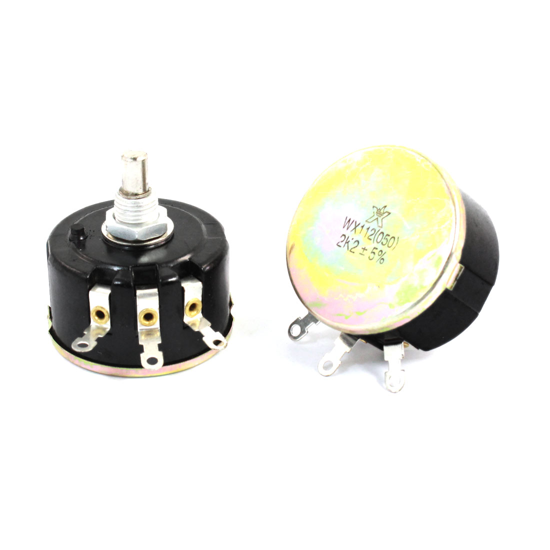 2pcs WX112(050) Round Shaft 3 Terminals Wire Wound Potentiometer 2.2K Ohm 5W