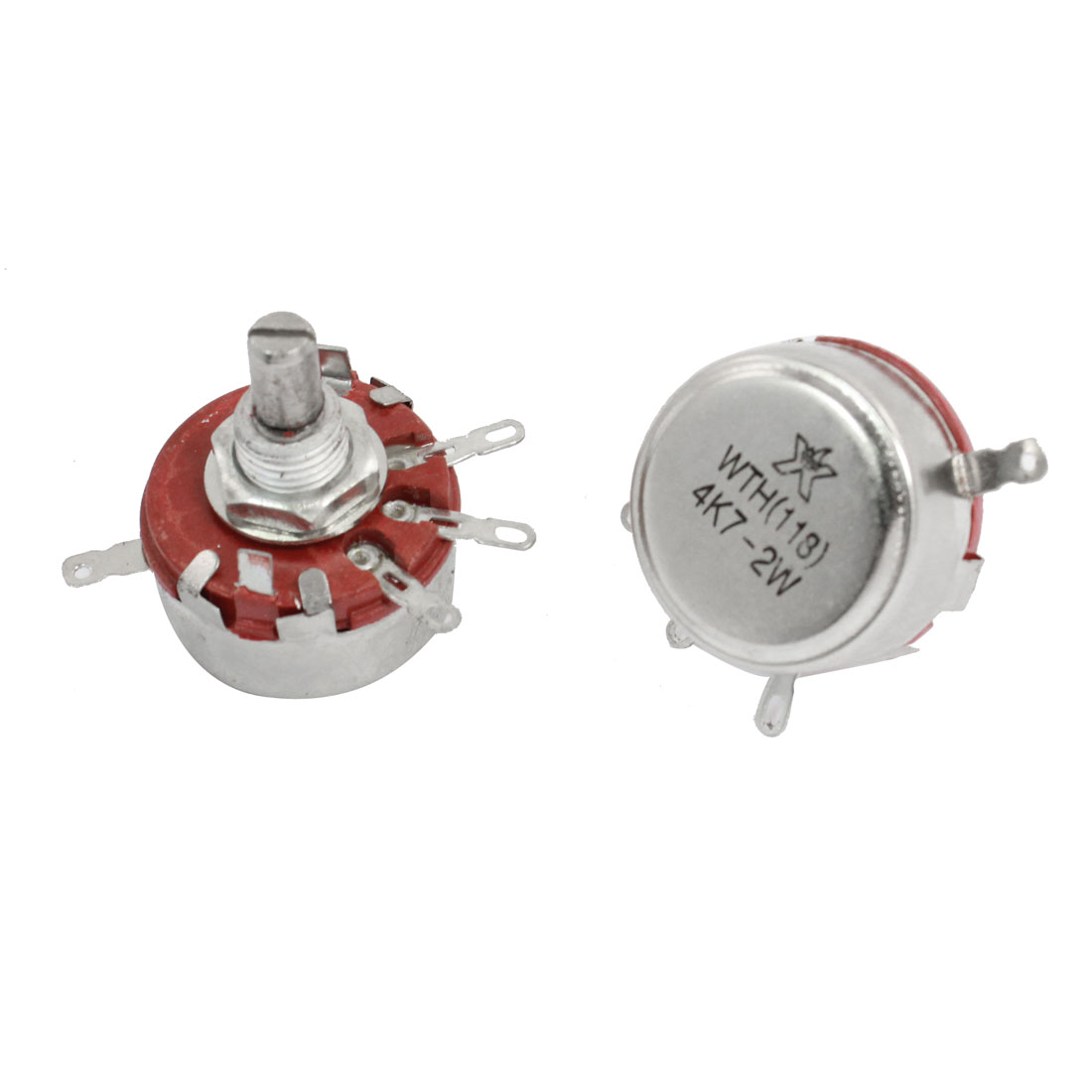 2pcs 4.7K ohm 2W Single Turn Carbon Composition Rotary Potentiometer WTH118
