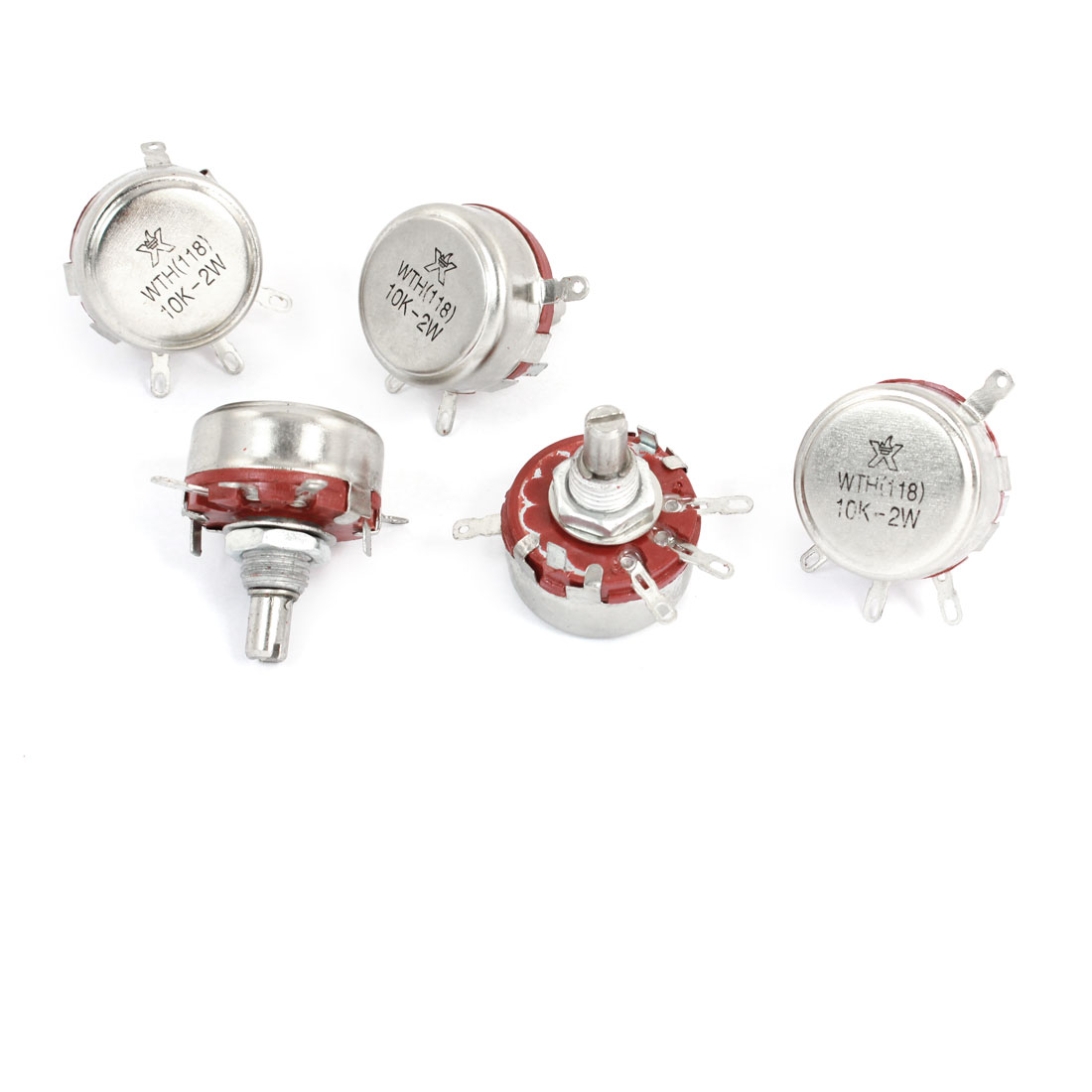 5 Pcs 10K ohm 2W Watt Round Shaft 4 Pins Rotary Carbon Potentiometer WTH118