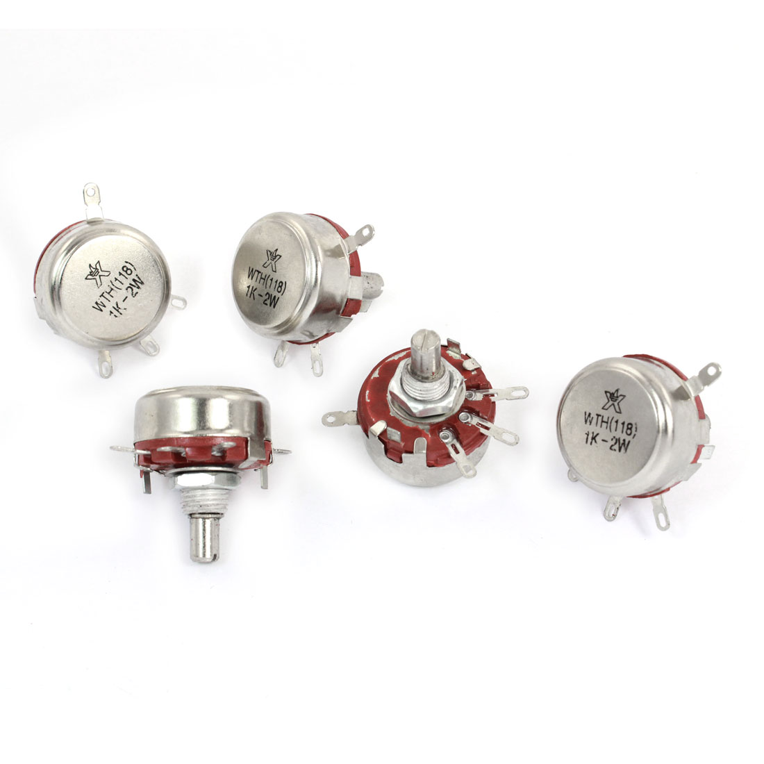 5 Pcs 1K ohm 2W 6mm Round Shaft 4 Terminal Rotary Carbon Potentiometer WTH118