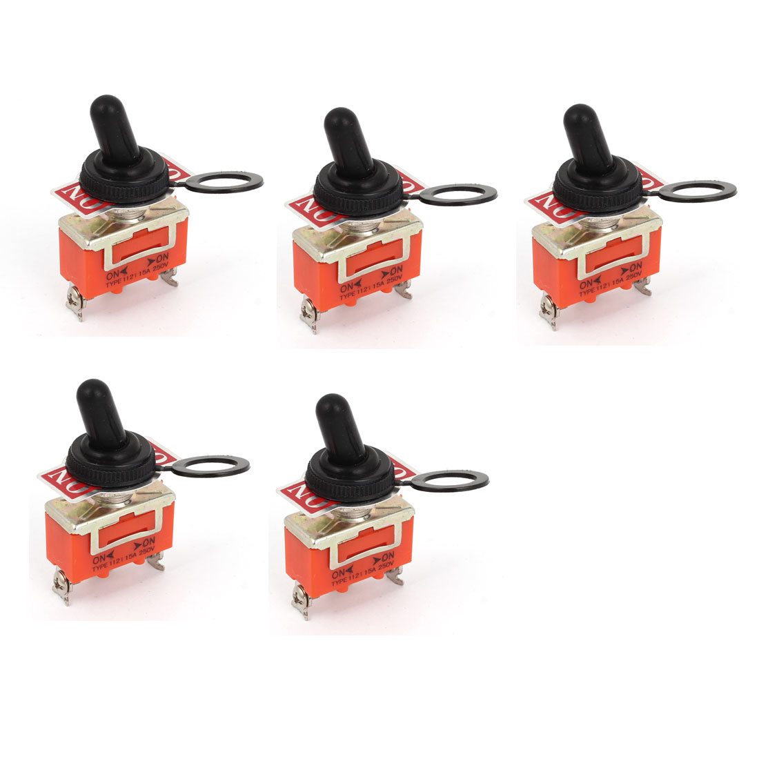5pcs AC 250V 15A ON-ON 2 Way 3 Terminals Toggle Switch w Waterproof Cap