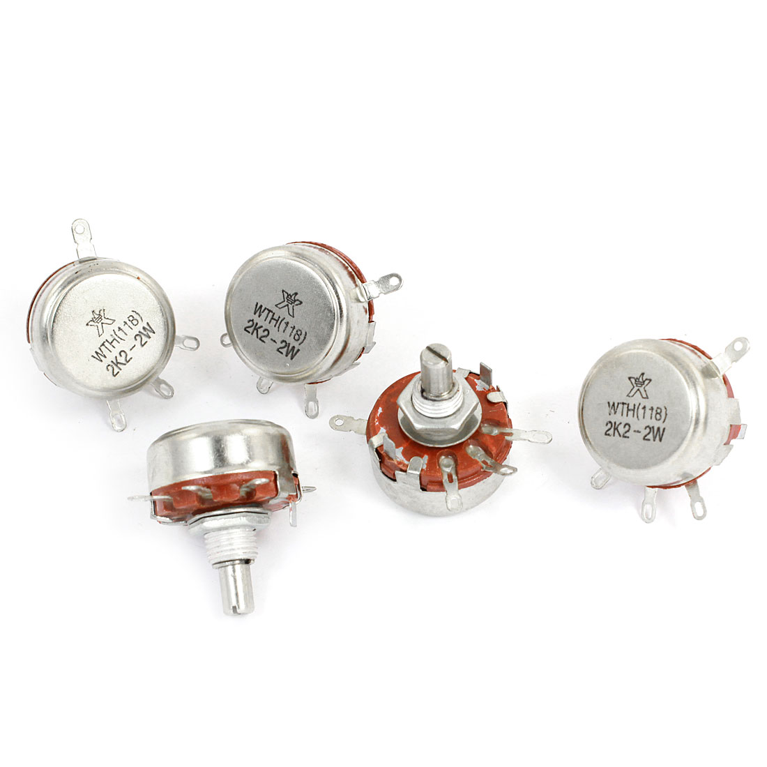 5 Pcs 2.2K ohm 2W Round Shaft 4 Terminal Rotary Carbon Potentiometer WTH118