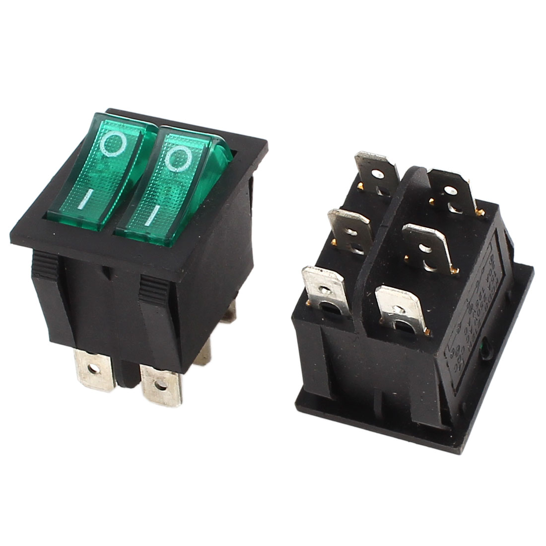 2Pcs SPST Dual Button Green Lamp Boat Rocker Switch 6 Pins AC 250V/15A 125V 20A