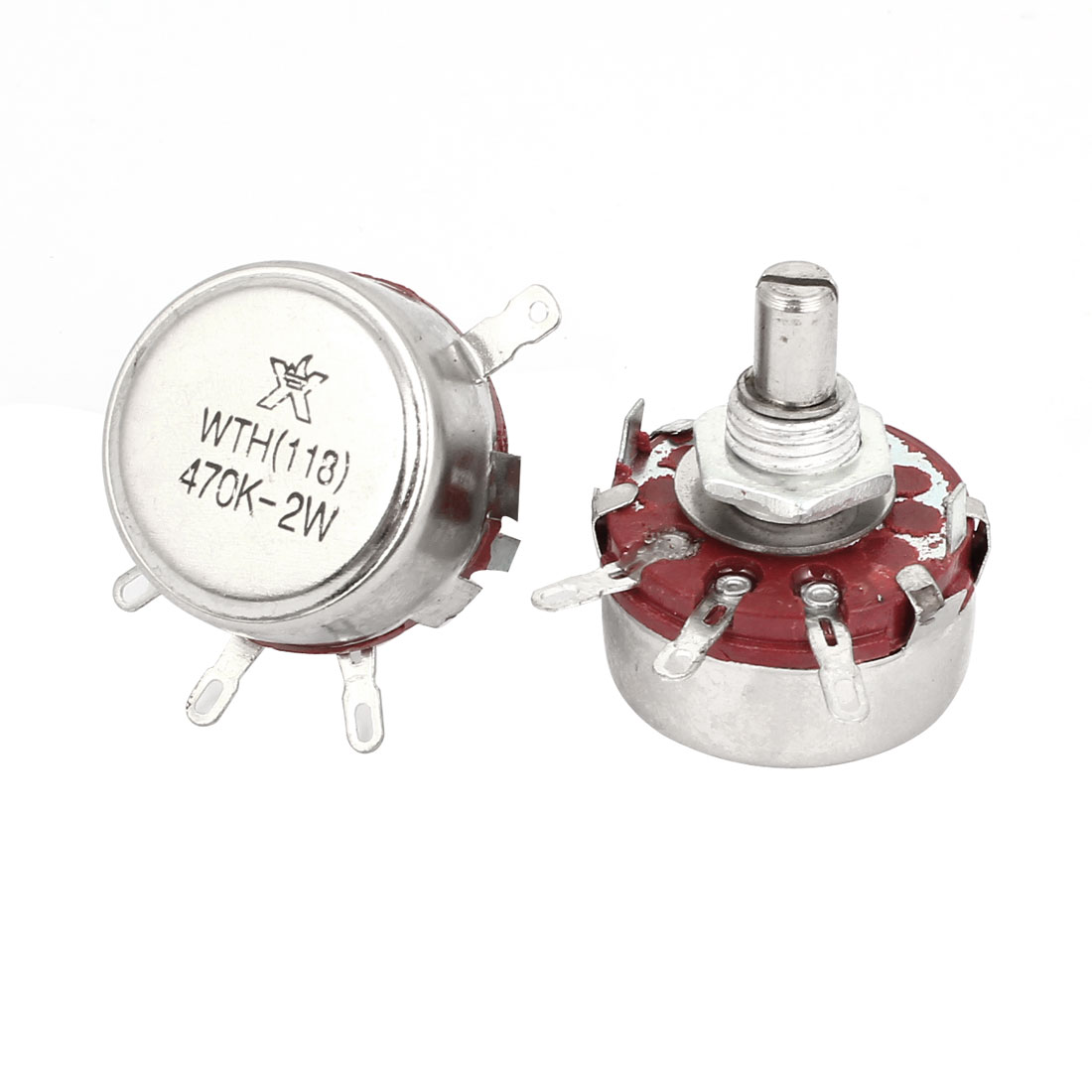 2pcs 470K ohm 2W Watt Single Turn Carbon Composition Rotary Potentiometer WTH118
