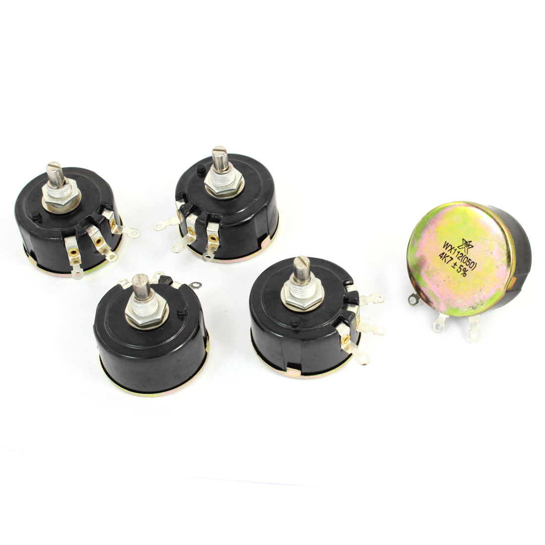 5 Watt 4.7K Ohm Variable Resistor 3 Pin Wire Wound Potentiometer WX112(050) 5pcs