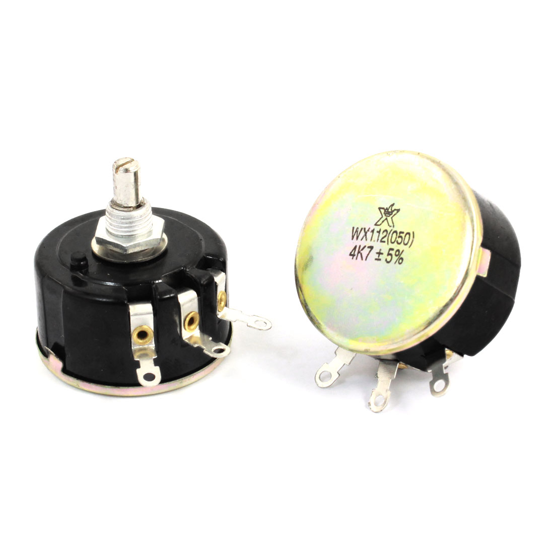 2pcs WX112(050) Round Shaft 3 Terminals Wire Wound Potentiometer 4.7K Ohm 5W