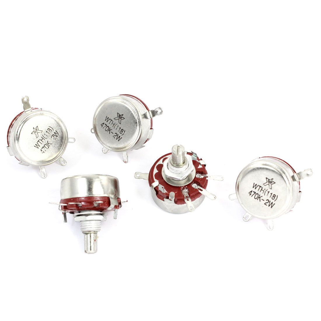 WTH118 470K ohm 2W 6mm Round Shaft 4 Pins Carbon Rotary Potentiometer 5pcs