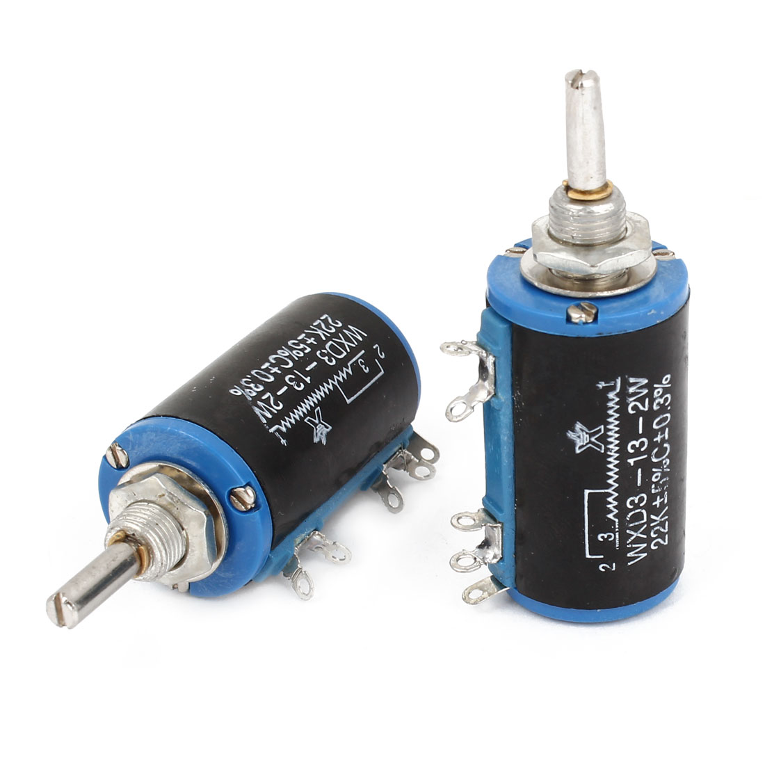 WXD3-13 22K ohm 2W 4mm Shaft 10 Turn Rotary Wire Wound Potentiometer 2pcs