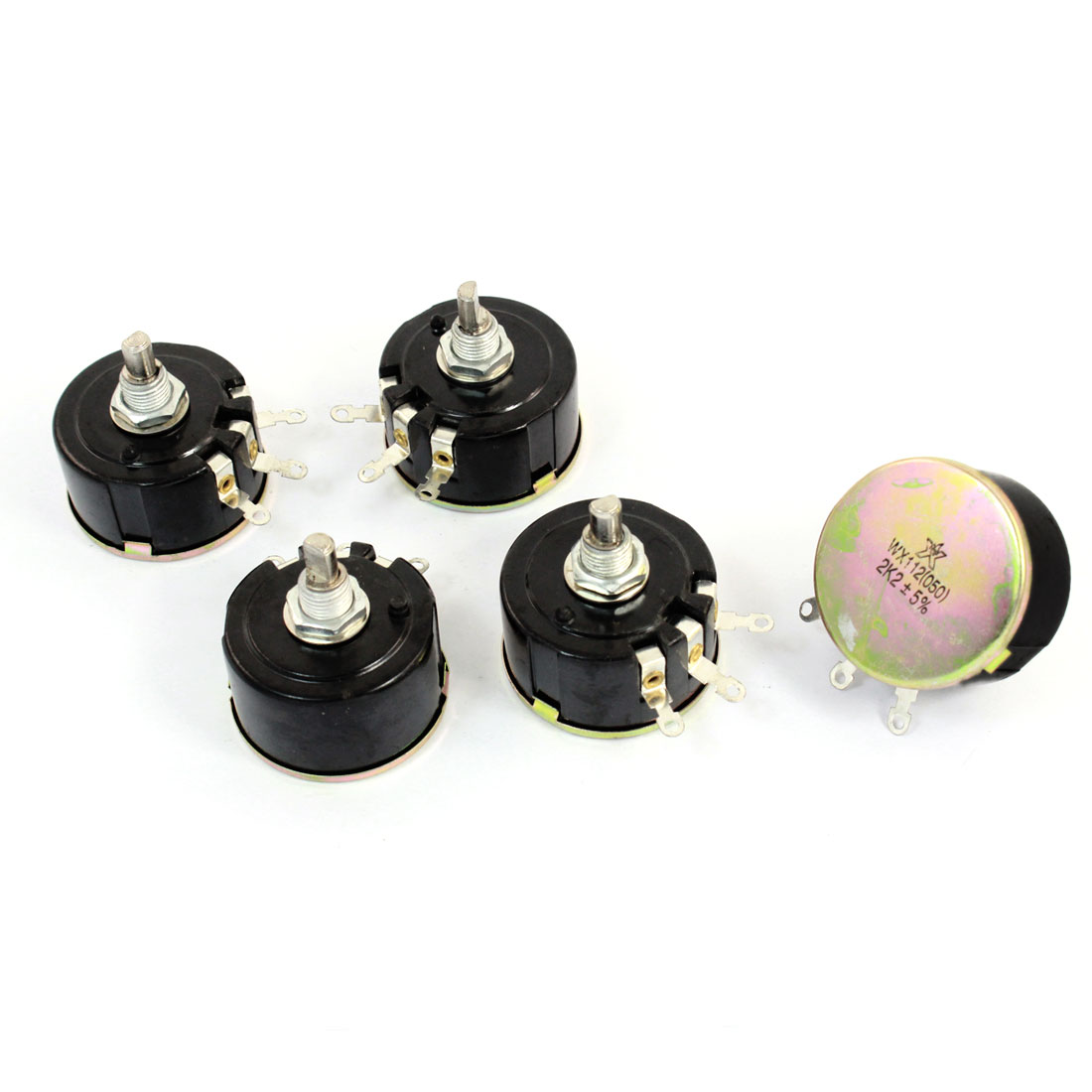 5W 2.2K Ohm Variable Resistor 3 Pin Wire Wound Potentiometer WX112(050) 5pcs