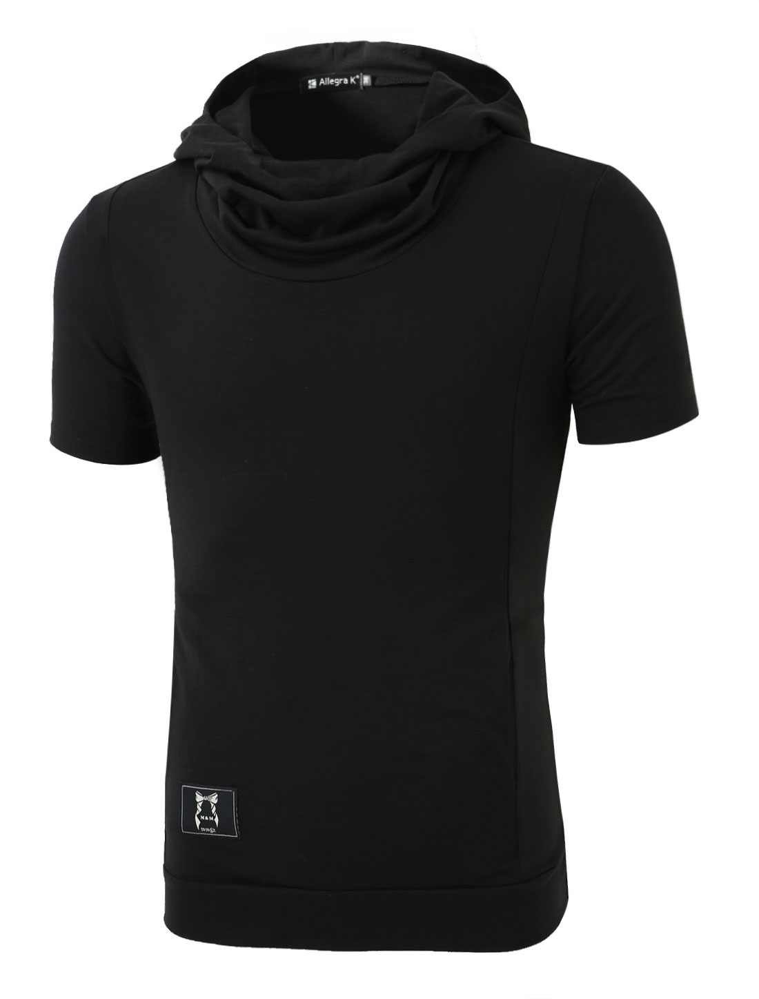 Men Cowl Neck Two Pockets Stylish Hooded T-Shirt Black S
