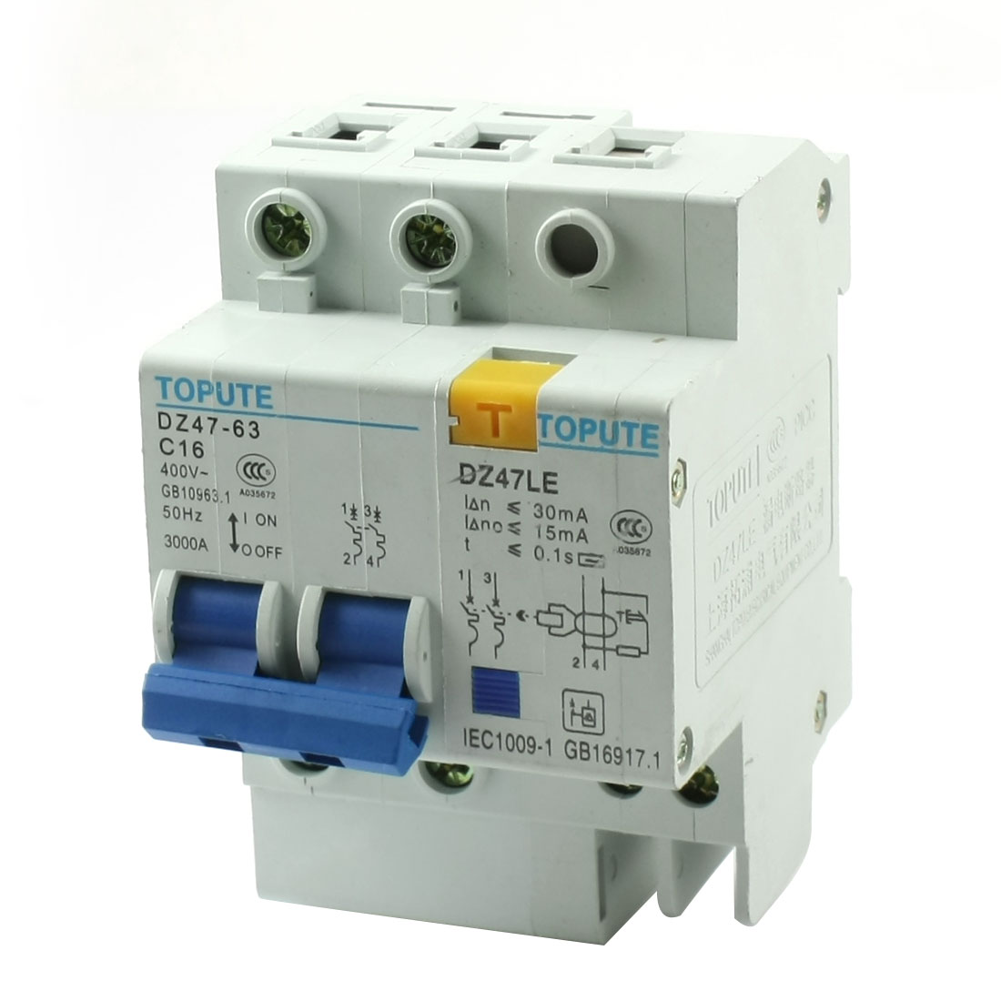 35mm DIN Rail Mounting On/Off Switch 4 Screw Teminals 2-Pole MCB Circuit Breaker Overload Protection AC400V 16A
