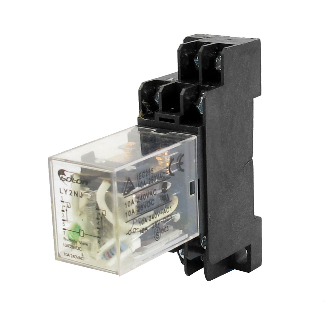 DC 24V 35mm DIN Rail Mounting 8-Pin DPDT 2NO 2NC General Purpose Electromagnetic Coil Power Relay w Plug-in Socket