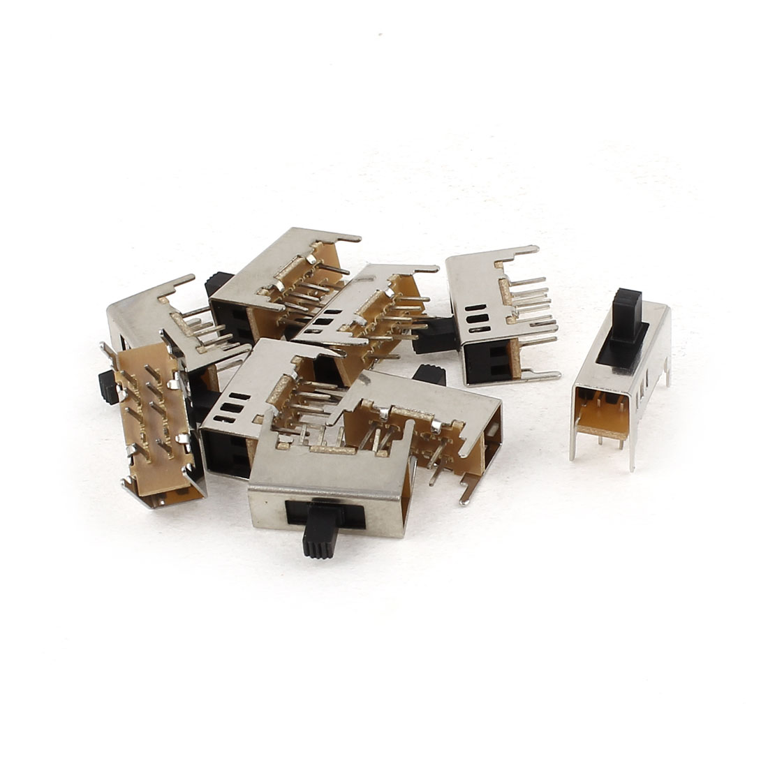9Pcs 2P3T 3Position 8 Soldering Lug Pin Through Hole Mount Mini Slide Switch 16mm x 12mm x 7mm