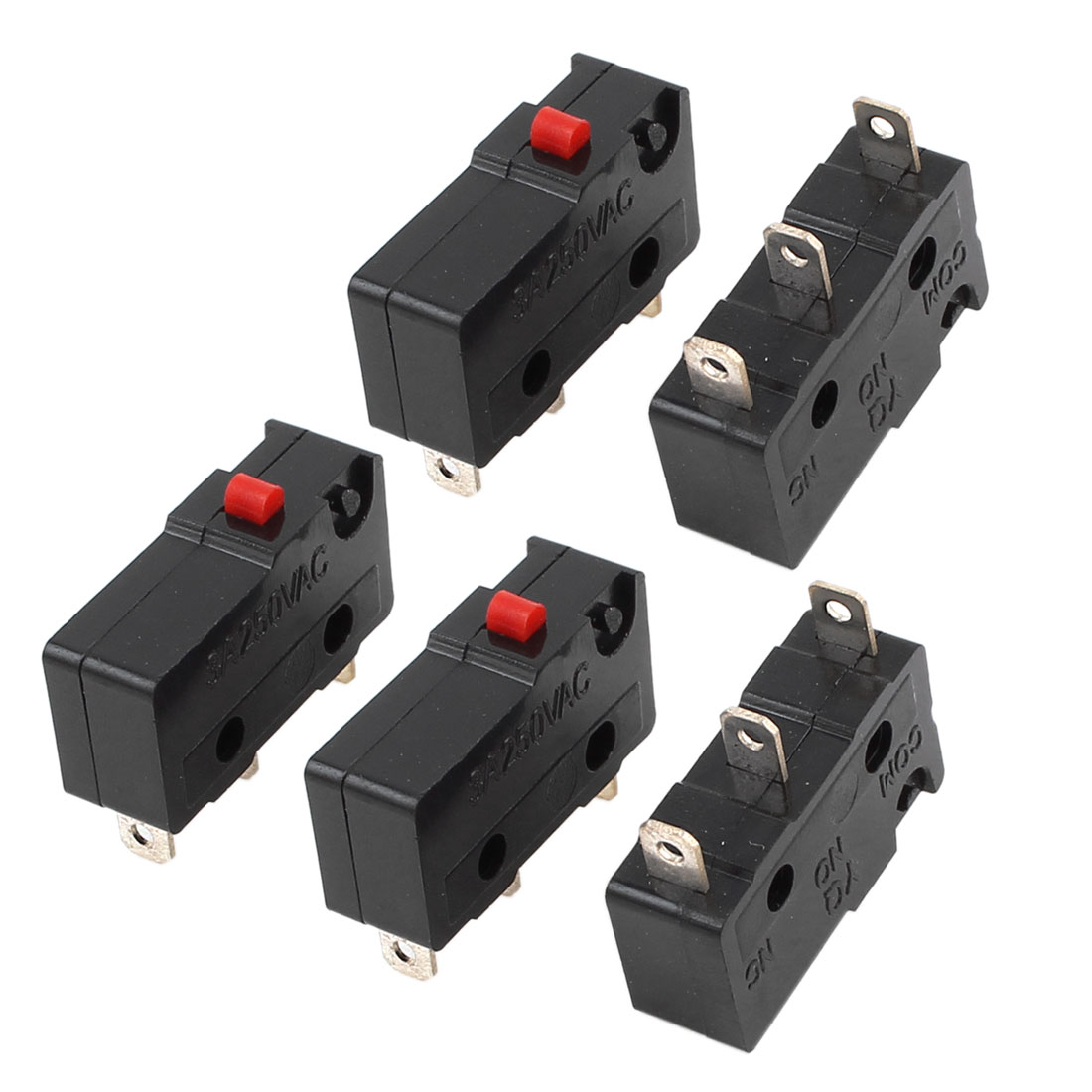 5Pcs SPDT 1NO 1NC 3 Terminal Momentary Control Black Plastic Micro Limit Switch AC250V 3A