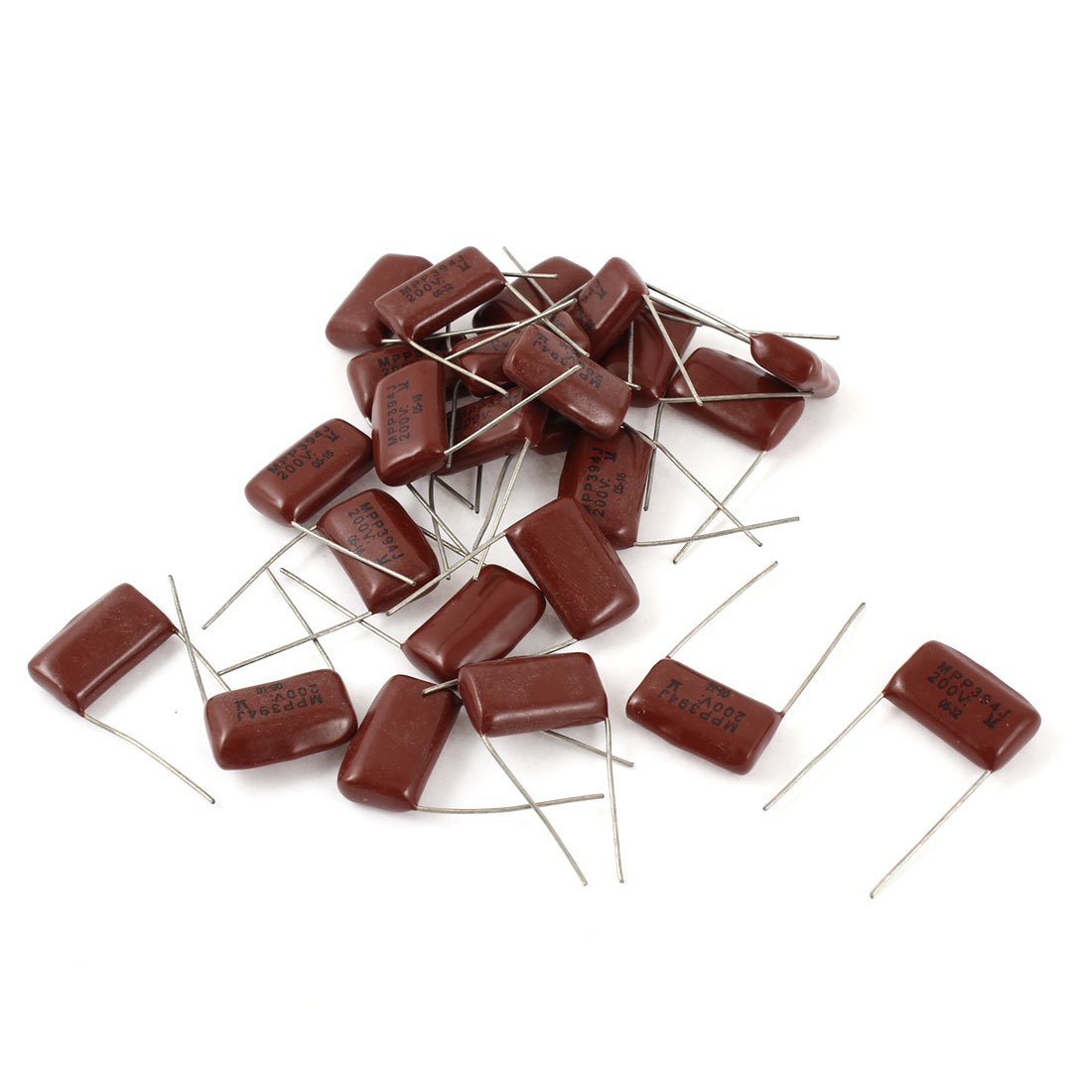 30PCS Radical Leads Metallized Polypropylene Film Capacitors 0.39uf 200V