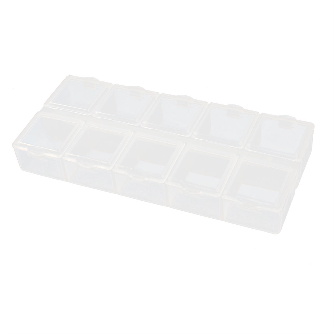 Multifunction Clear White Plastic 10 Slots Electronic Component Storage Case