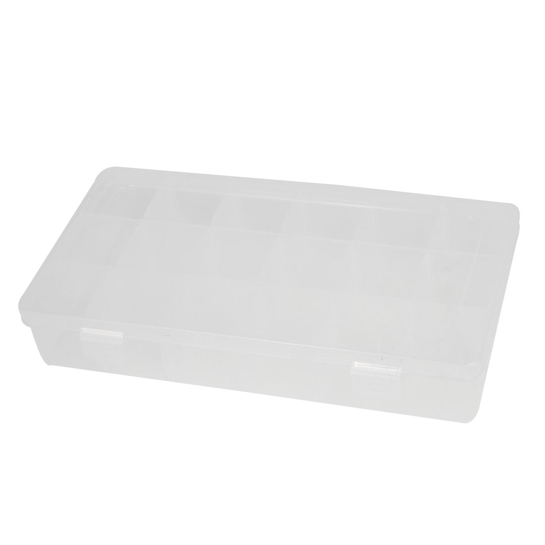 Clear White 18-slot Electronic Component Storage Box Case Holder 230mmx112mmx42mm