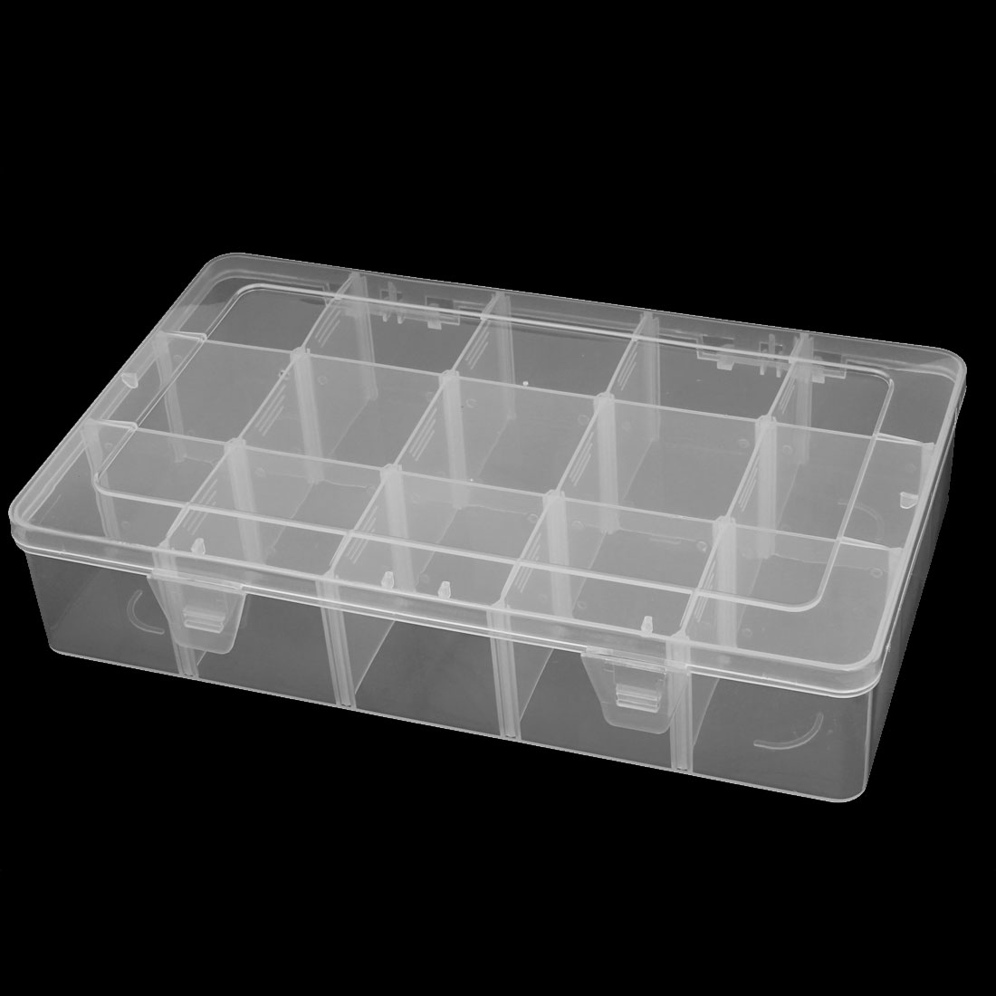 White Plastic 15 Compartments Electronic Component Storage Box Case Container