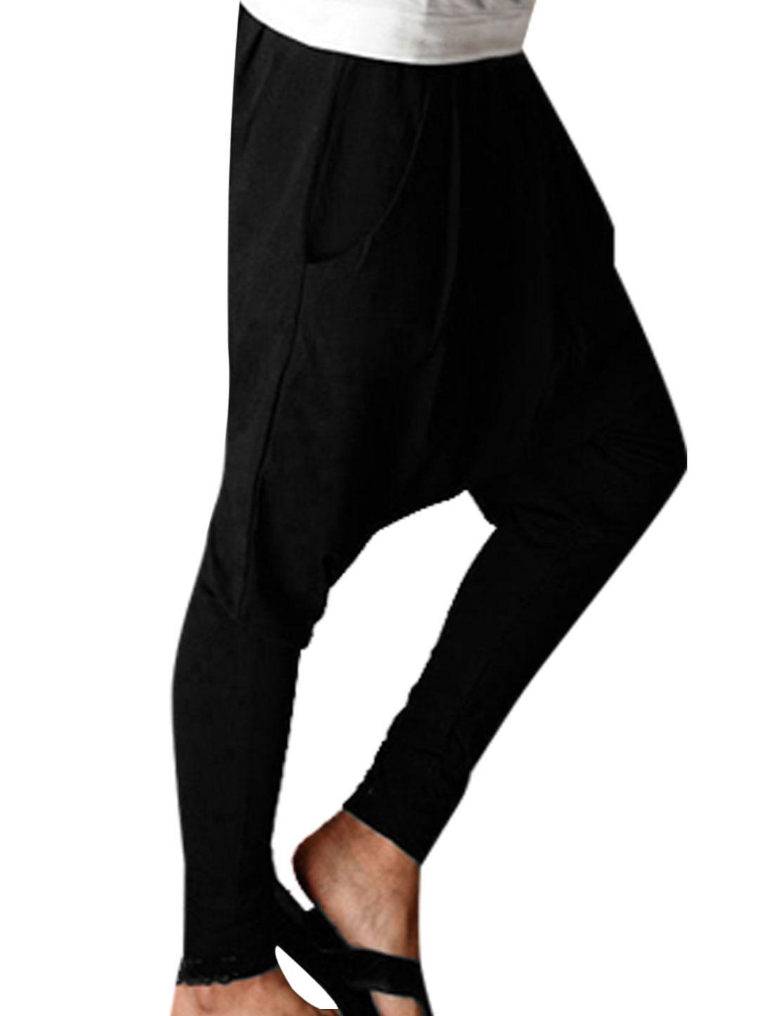 Men Newly Fashion Elastic Waist Gathered Detail Baggy Harem Pants Black W32