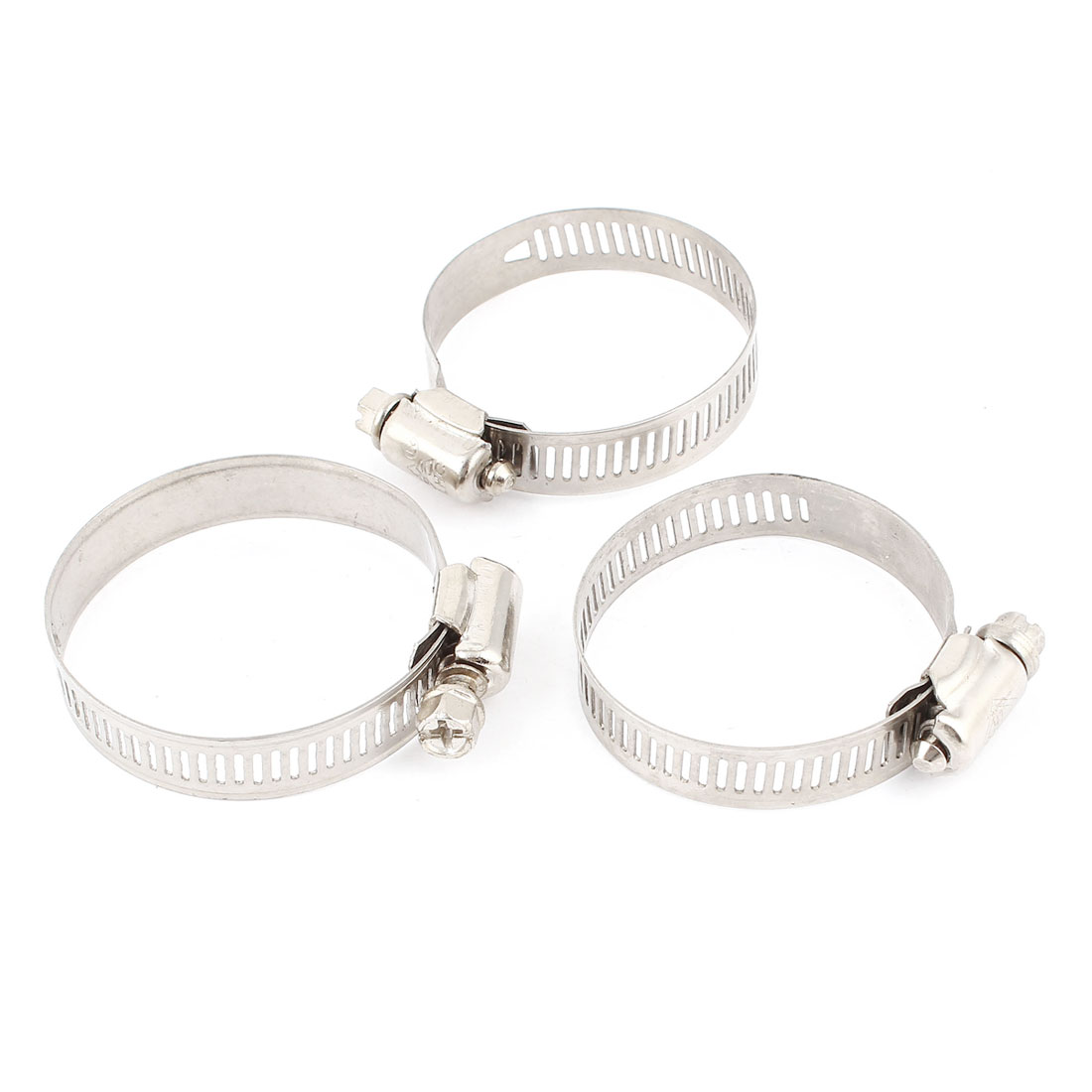 "3 Pcs 27mm to 51mm Adjustable Stainless Steel Band Turbo Hose Clamp 2"" Dia"