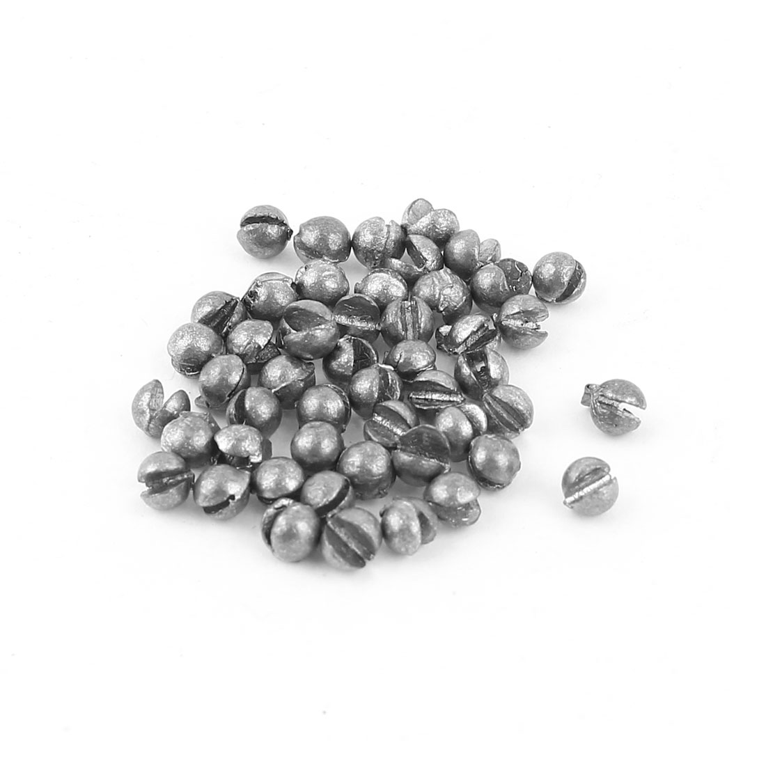 50Pcs 4mm Round Split Shots Sinkers Fish Tackle Dark Gray 0.3g Per Piece
