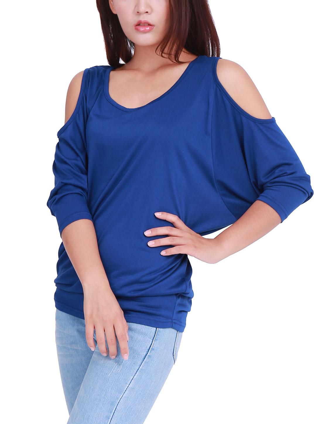 Women Cut Out Shoulder Design Scoop Neck Royal Blue Top Shirt 1X