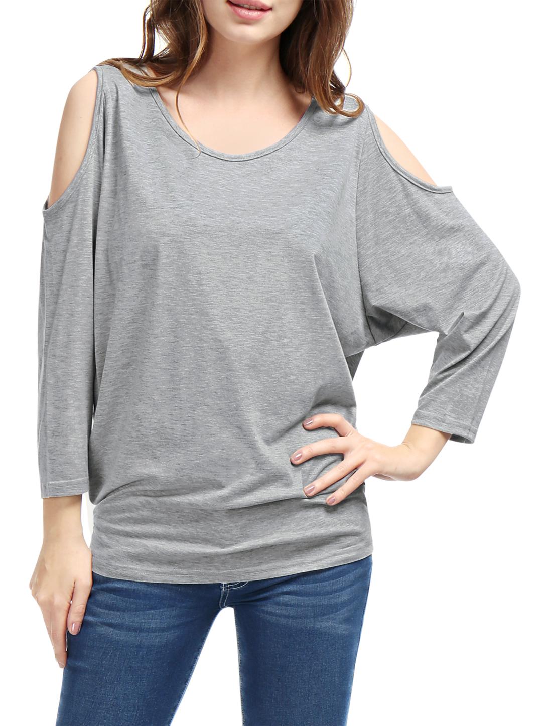 Women Leisure Design Long Batwing Sleeves Gray Top Shirt 1X
