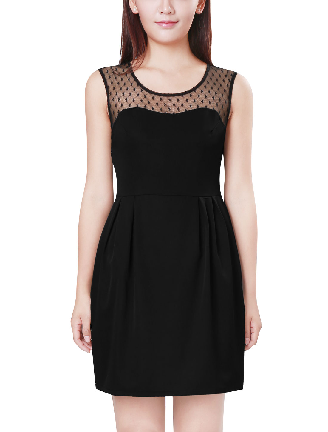 Ladies Mesh Splicing Design Round Neck Black Dress XL