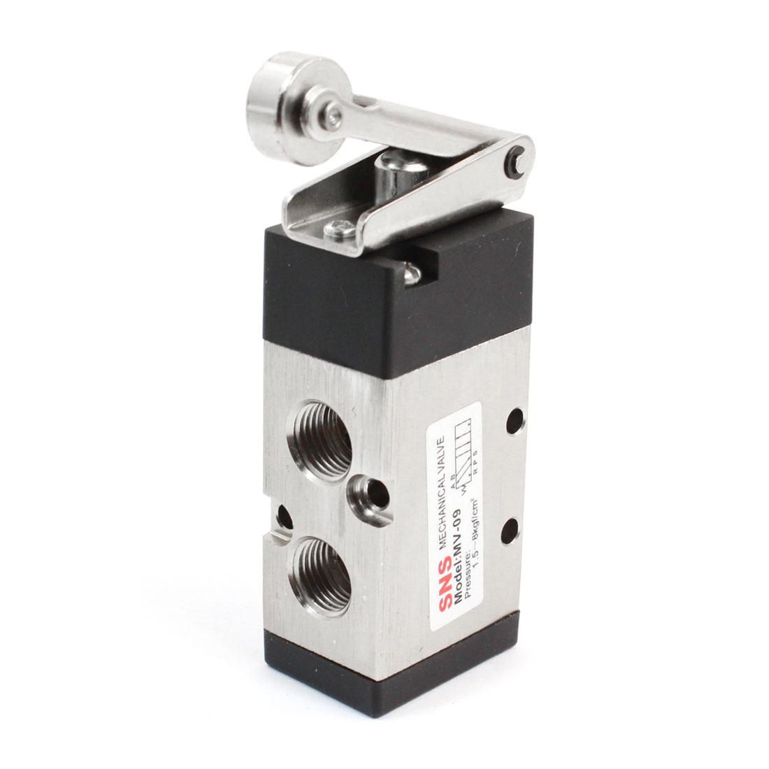 Single Roll 1/4PT Female Thread 2 Position 5 Way Roller Lever Mechanical Valve