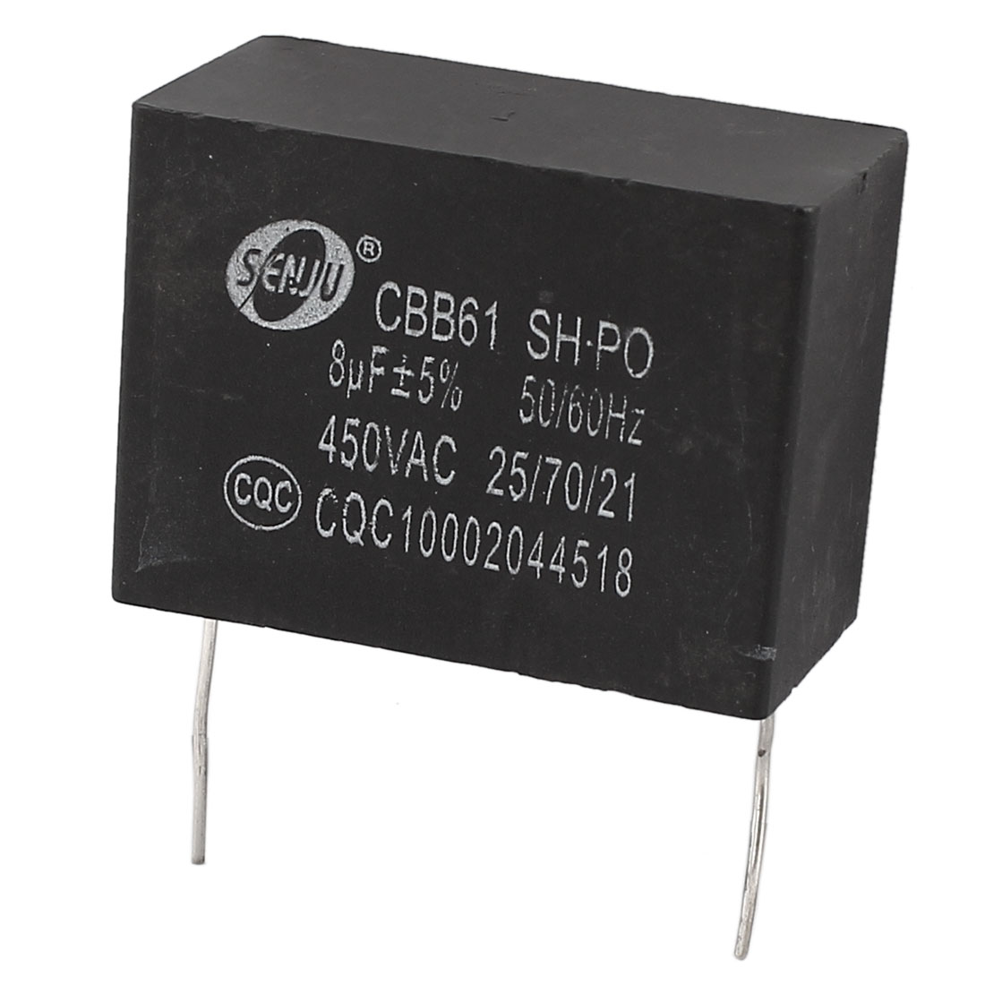 CBB61 AC 450V 8uF 50/60Hz Nonpolar Wired Motor Run Capacitor Black for Fan