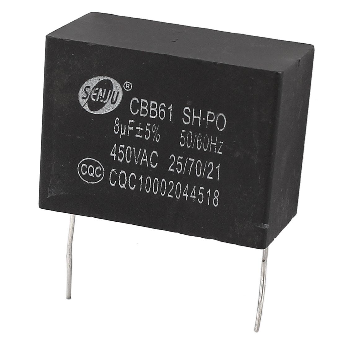 CBB61 AC 450V 8uF 50/60Hz Nonpolar Wired Motor Run Capacitor Black for Fan