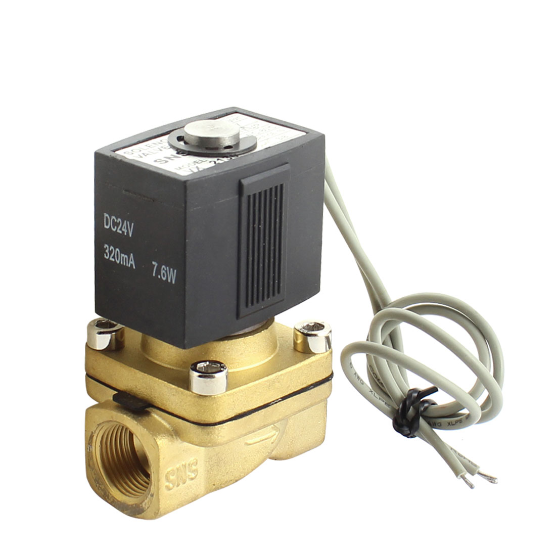DC24V 320mA 7.6W 3/8PT Female Thread 2-Wired Brass 2 Way Water Gas Electric Solenoid Valve