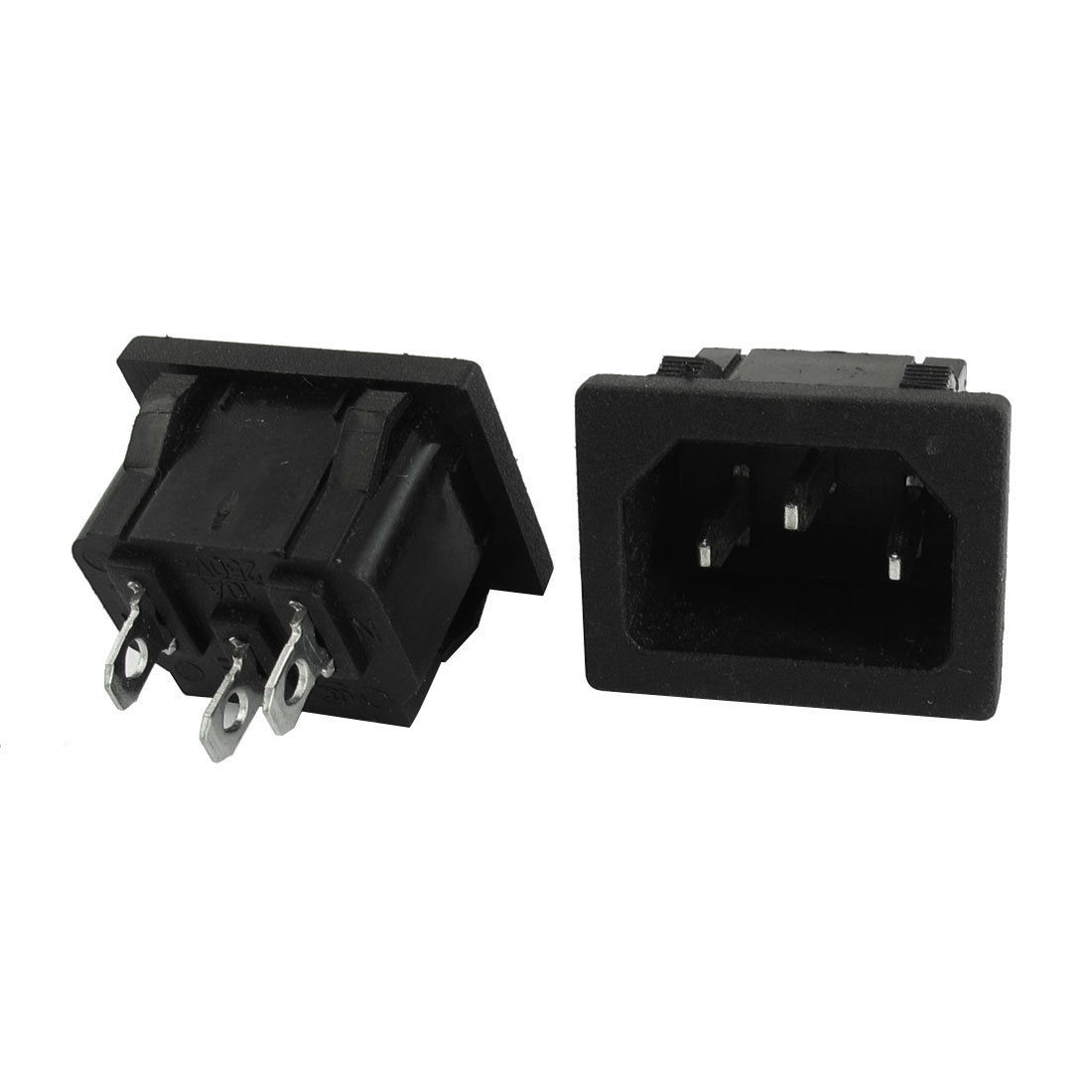 2Pcs AC250V 10A Snap in Mounting IEC320 C14 3Pin Male Inlet Black Plastic Power Adapter Socket Replacement