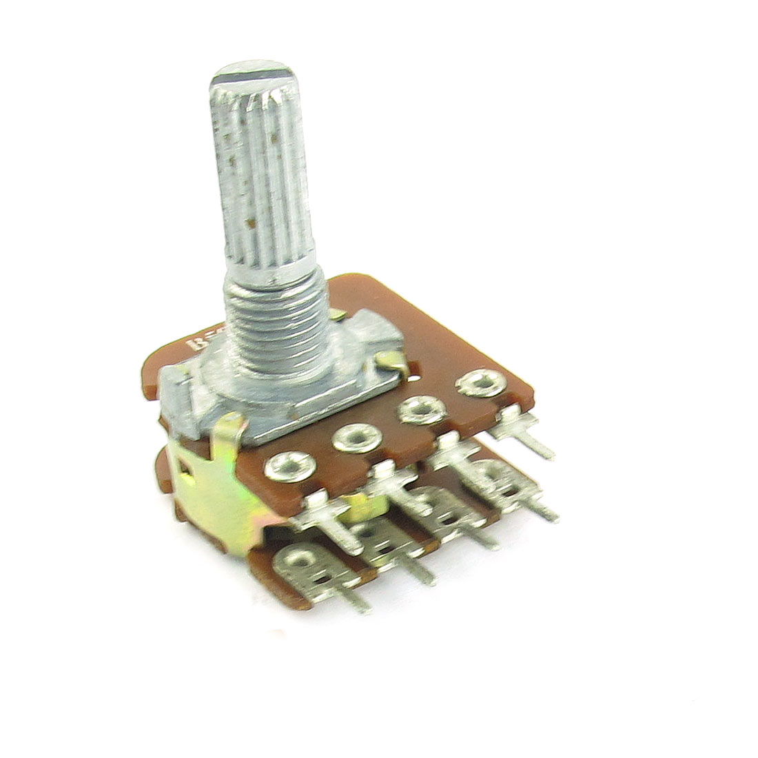 7mm Thread 6mm Knurled Shaft 8-Terminal Dual Layer Linear Type Top Adjustable Rotary Potentiometer B50K 50K Ohm