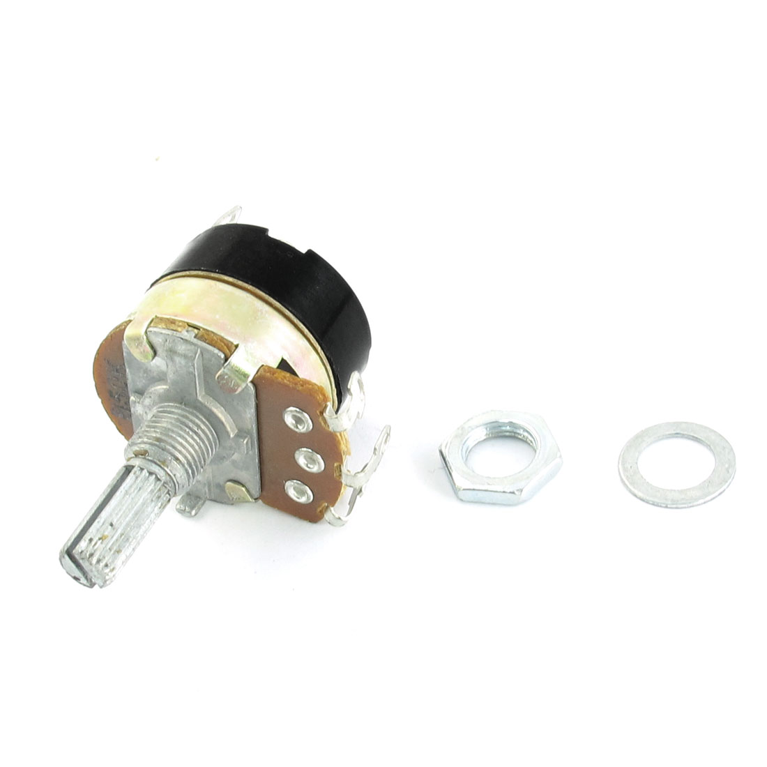 B150K 150K Ohm 6mm Knurled Shaft 8mm Thread 5 Terminals Linear Single Turn Top Adjustable Rotary Taper Potentiometer Switch