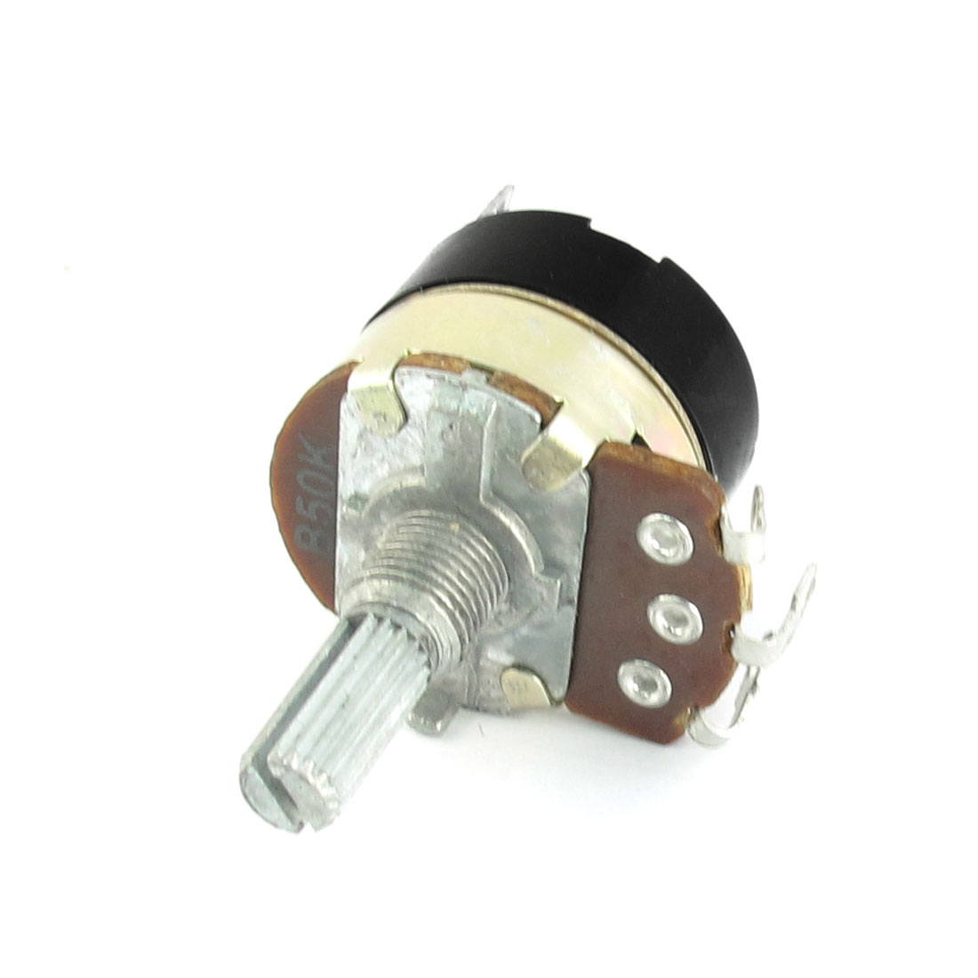B50K 50K Ohm 6mm Knurled Shaft 8mm Dia Thread 5 Terminals Linear Rotary Taper Potentiometer Switch