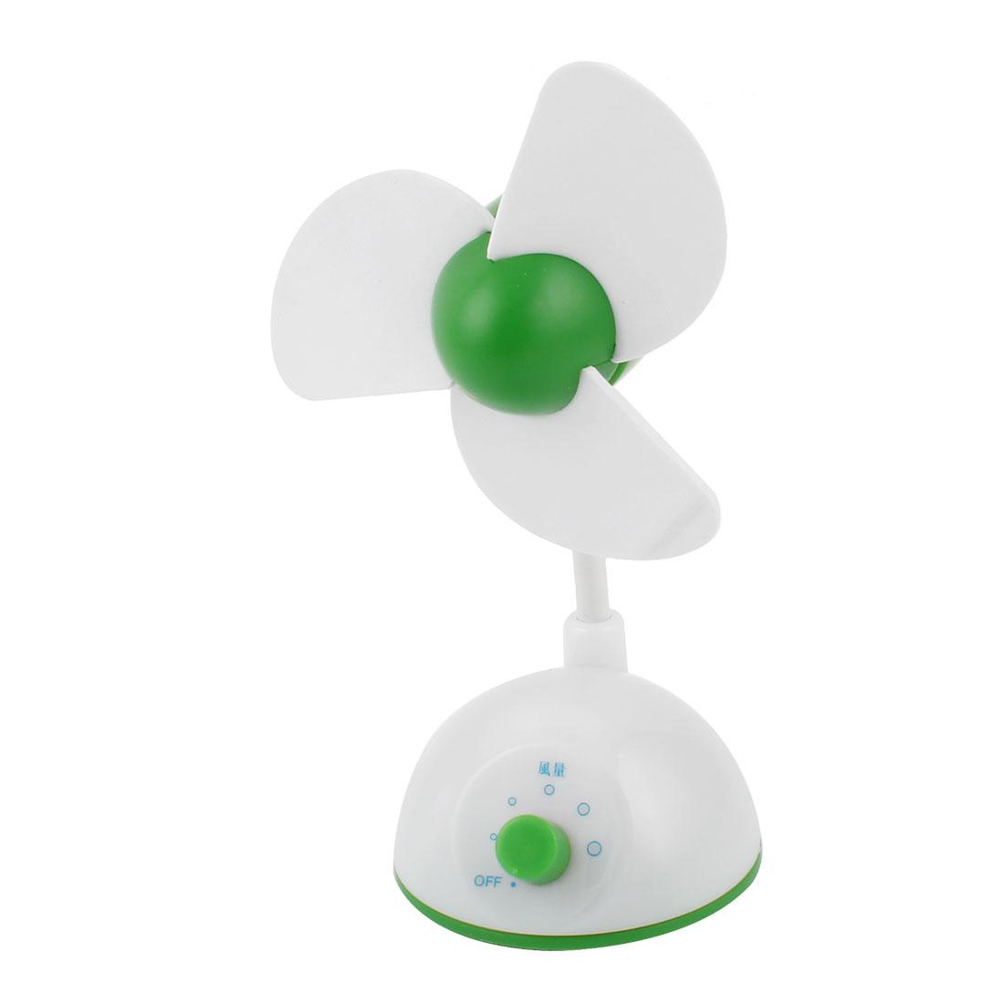 USB Powered Adjustable Wind Speed 3 Fan Flabellum Cooling Fan Green White