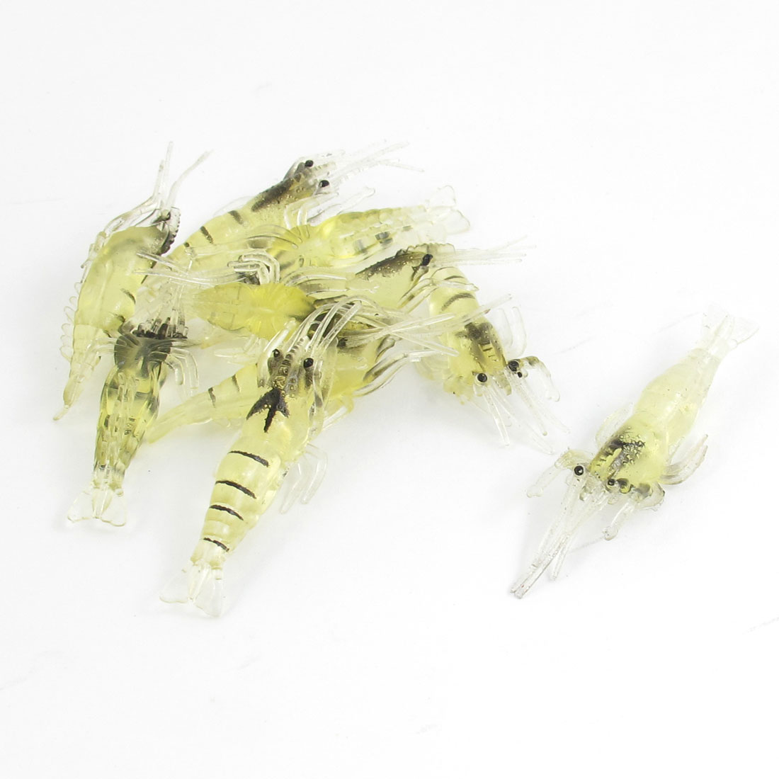 10 Pcs Manmade Fish Bait Soft Silicone Shrimp Lobster Lure Clear Yellow Black