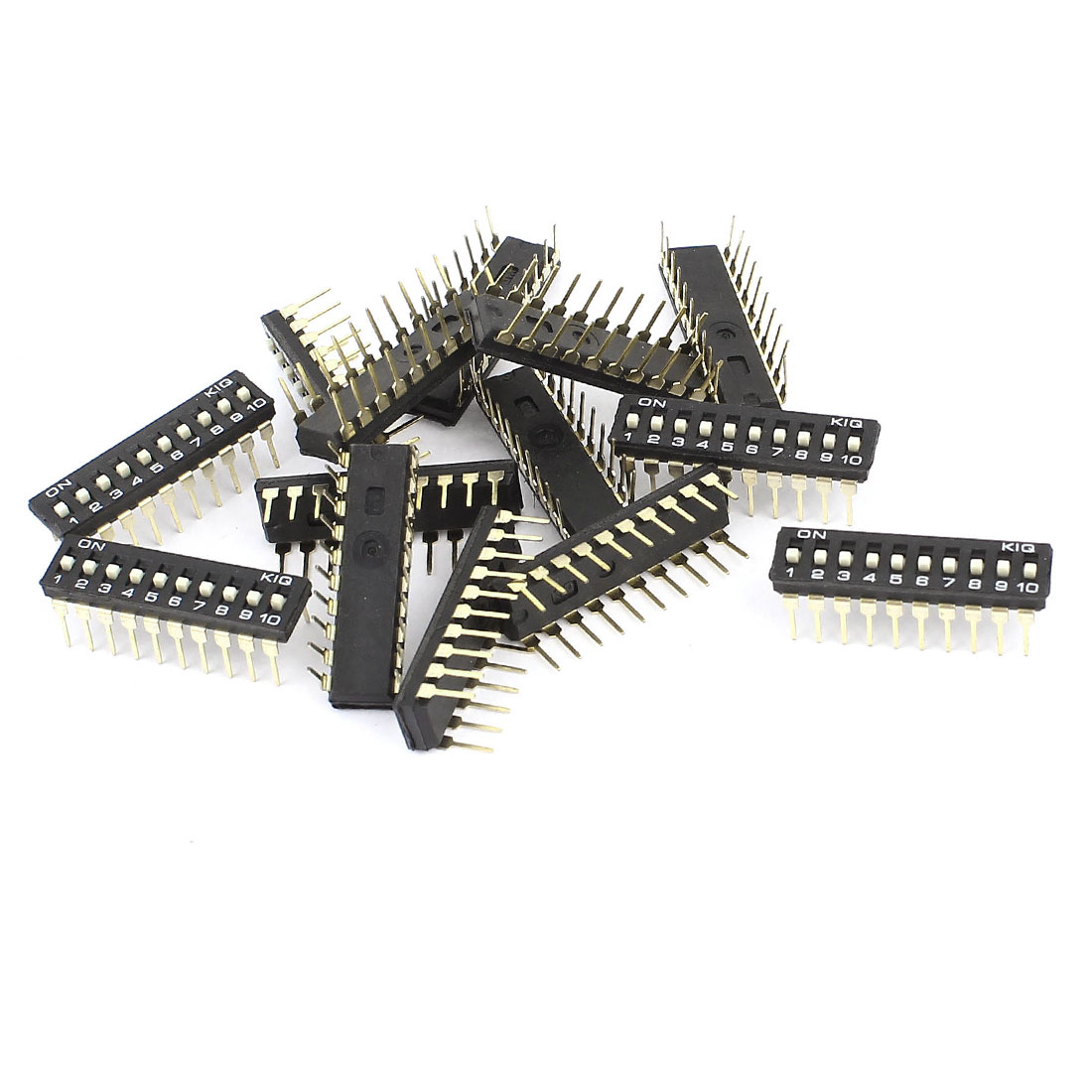 14 Pcs Black Double Row 20 Pin 10P Positions DIP Switch 2.54mm Pitch