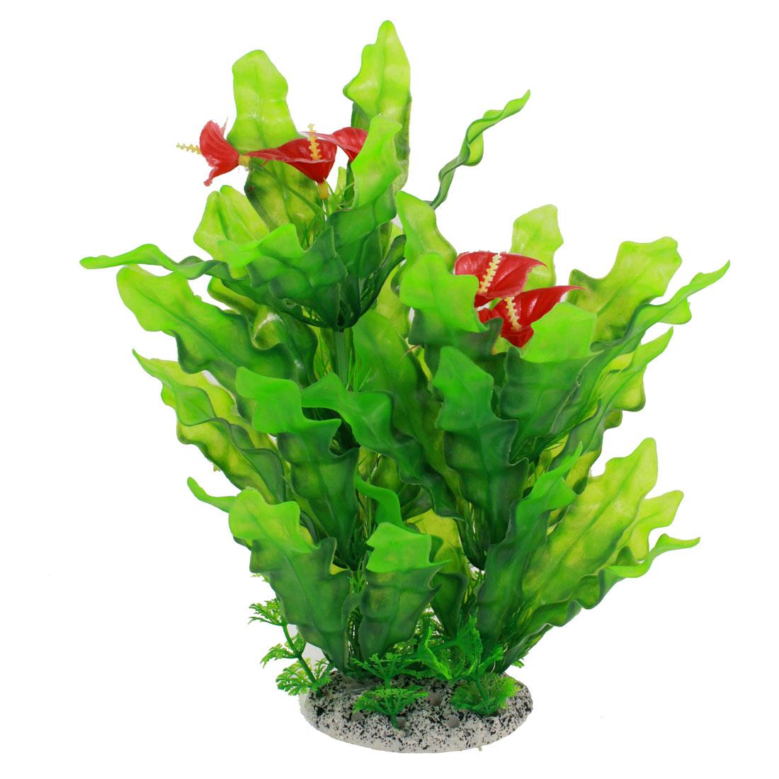 "Fish Tank Decor Artificial Flower Accent Water Grass Green Red 11.5"" Height"