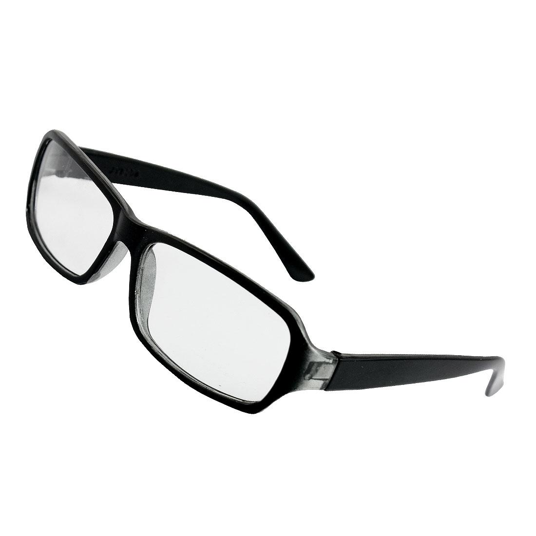 Black Plastic Full Frame Clear Lens Glasses Eyeglasses for Man Woman