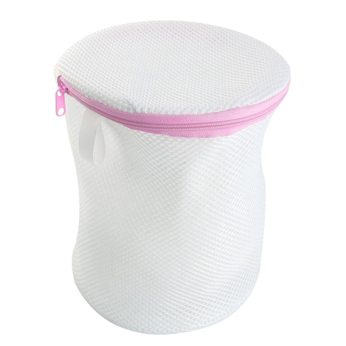White Cylinder Zipper Closure Nylon Mesh Underwear Bra Washing Laundry Bag